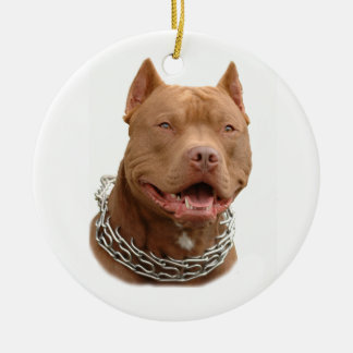 Pitbull dog round ceramic decoration