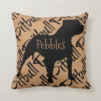 Pitbull Dog Silhouette Custom Pillow