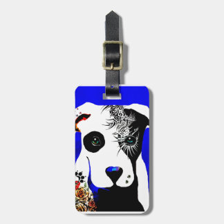 Pitbull dog with tattoos and piercings bag tag