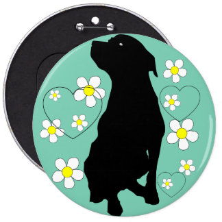Pitbull Love And Daises Button! Other Colors Also! 6 Cm Round Badge