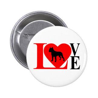 PITBULL LOVE RED AND BLACK 6 CM ROUND BADGE