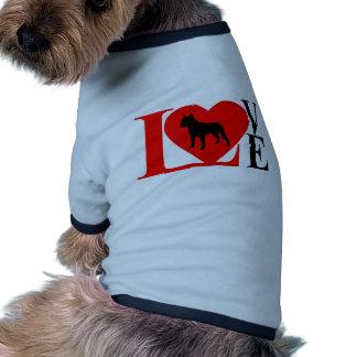 PITBULL LOVE RED AND BLACK DOG T SHIRT