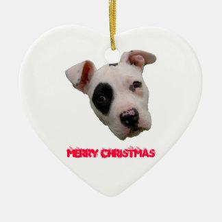 Pitbull Merry Christmas Ceramic Heart Decoration