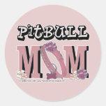 Pitbull MOM Round Stickers