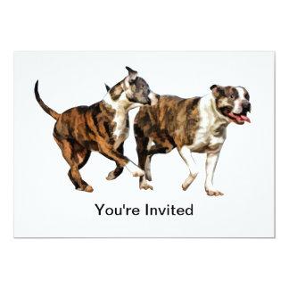Pitbull Pals in Play 13 Cm X 18 Cm Invitation Card