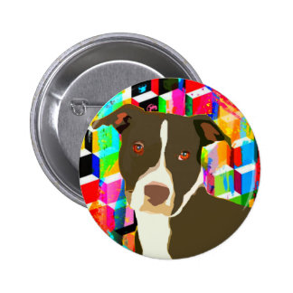 Pitbull Portrait Pop Art 6 Cm Round Badge
