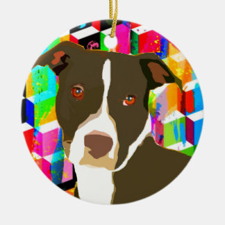 Pitbull Portrait Pop Art Christmas Ornament
