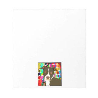 Pitbull Portrait Pop Art Notepads