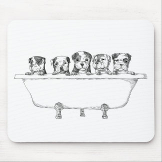 Pitbull Puppies In the Tub - Illustration Mouse Pad