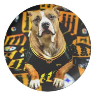 Pitbull Rescue Dog Football Fanatic Plate