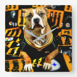 Pitbull Rescue Dog Football Fanatic Square Wall Clock