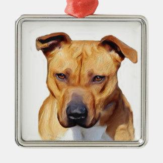 Pitbull Terrier Silver-Colored Square Decoration
