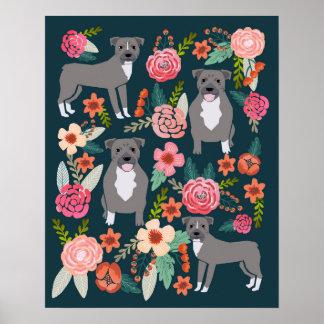 Pitbull Terrier Floral Dog Art Poster