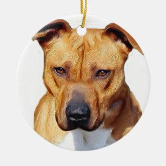 Pitbull Terrier Round Ceramic Decoration