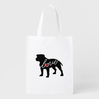 Pitbull (Undocked Ears) Love Reusable Grocery Bag