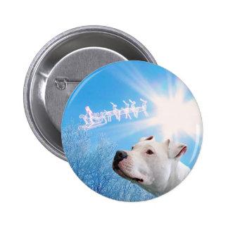 PItbull White Dog Christmas Wish 6 Cm Round Badge