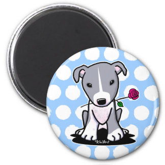 Pitbull With Flower 6 Cm Round Magnet