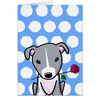 Pitbull With Flower Greeting Card