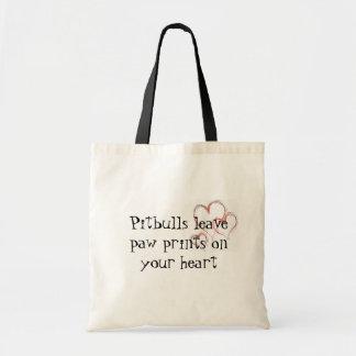 Pitbulls leave paw prints 1474 budget tote bag