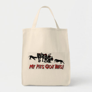 Pitbulls vs Zombies Funny Logo Design Grocery Tote Grocery Tote Bag