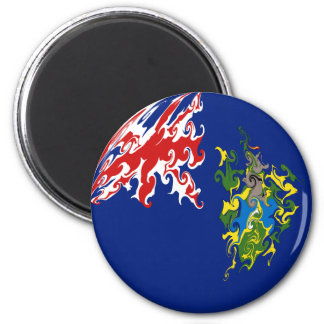 Pitcairn Islands Gnarly Flag 6 Cm Round Magnet