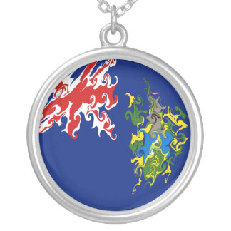 Pitcairn Islands Gnarly Flag Round Pendant Necklace