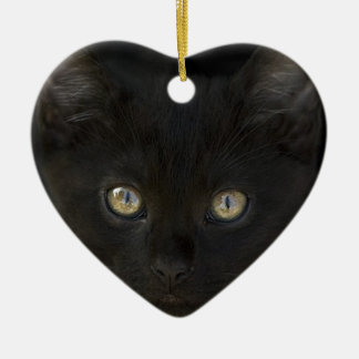 Pitch Black Feral Kitten With Shiny Loving Eyes Christmas Ornament