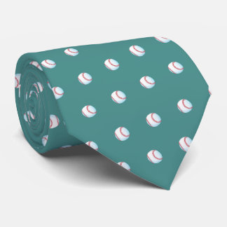 """Pitch Perfect Painted Baseball""  (teal) Tie"