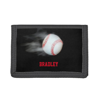 Pitch The Ball Baseball Team Player Personalized Trifold Wallet