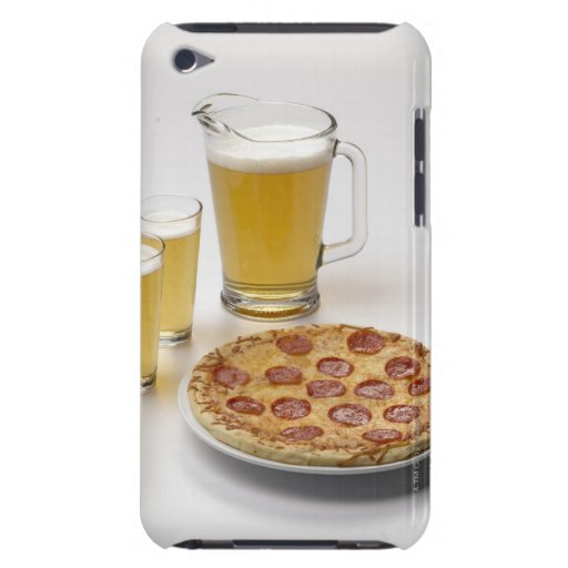 Pitcher and two pints of beer beside pepperoni iPod touch cases
