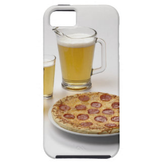 Pitcher and two pints of beer beside pepperoni case for the iPhone 5