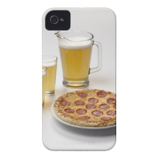 Pitcher and two pints of beer beside pepperoni Case-Mate iPhone 4 cases