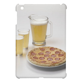Pitcher and two pints of beer beside pepperoni iPad mini case