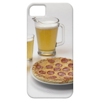 Pitcher and two pints of beer beside pepperoni iPhone 5 covers