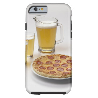 Pitcher and two pints of beer beside pepperoni tough iPhone 6 case