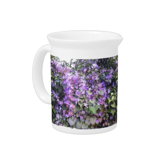 Pitcher / Jug with Purple / Mauve Flowers