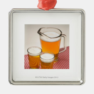 Pitcher of beer and two glasses filled with beer christmas ornament