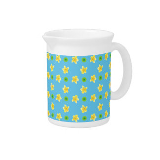 Pitcher or Jug Primroses and Polkas on Turquoise