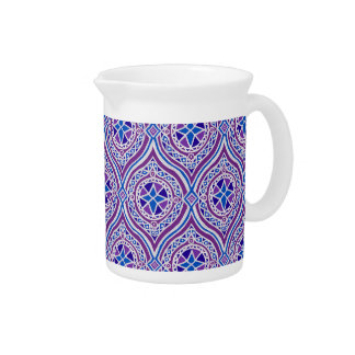 Pitcher or Jug: Purple, Blue, White Ogee Pattern