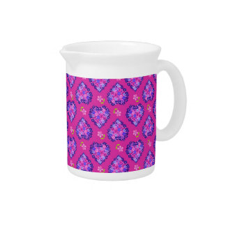 Pitcher or Jug with Hearts and Flowers on Magenta