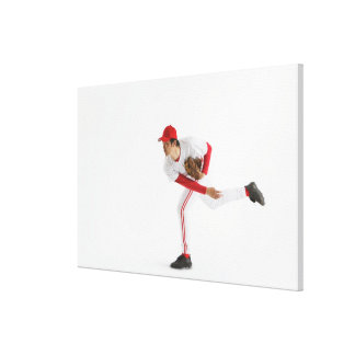 Pitcher Throwing Baseball Canvas Print