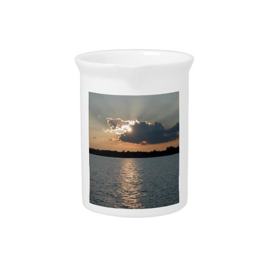 pitcher with photo of silver-lining sunset