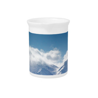 Pitcher with photo of snowy mountaintop