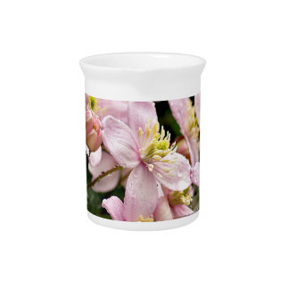 Pitcher with pink clematis print