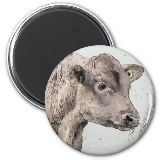 Pitchfork and Red Angus Calf 6 Cm Round Magnet