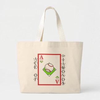 Pitching Ace: Ace of Baseball Diamonds Jumbo Tote Bag