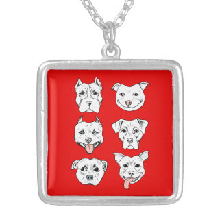 """""""Pittie Pittie Please!"""" Dog Drawing Pattern Silver Plated Necklace"""