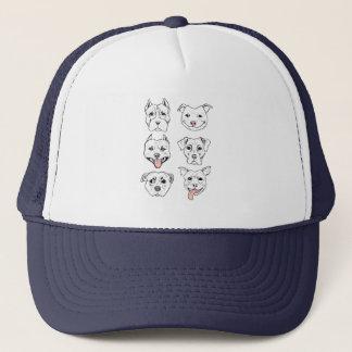 """""""Pittie Pittie Please!"""" Dog Drawing Pattern Trucker Hat"""