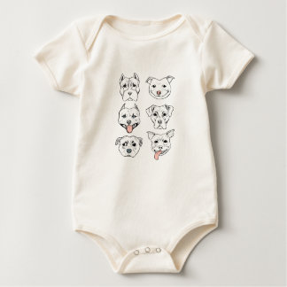 """Pittie Pittie Please!"" Dog Faces Baby Bodysuit"