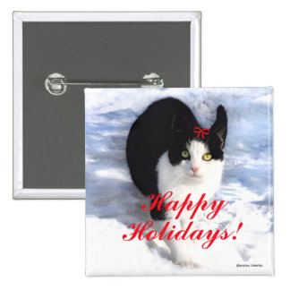 """""""Pittipat Happy Holidays"""" Button"""